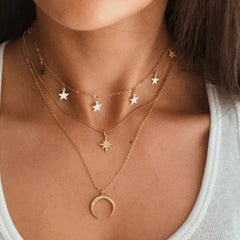 Retro Star Moon Three Layers Necklace