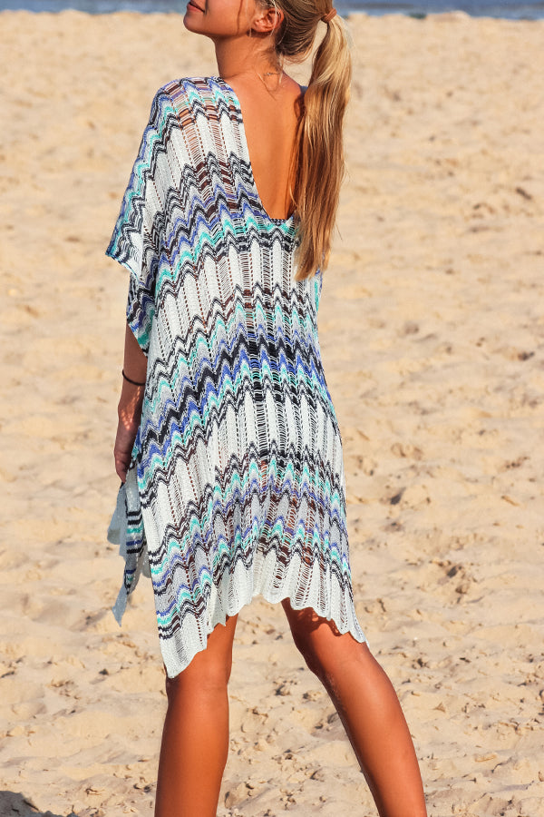 Tie Front Half Sleeve Knitted Swimsuit Cover Up