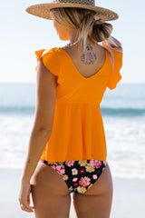 Ruffled Shoulder V Neck Floral Tankini Set