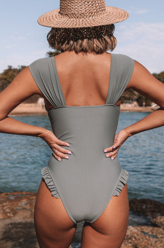 Stringy Selvedge Solid Color One Piece Swimwear