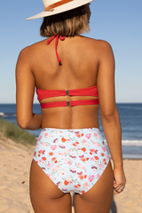 Flower Print High Waist Ribbed Bikini Set