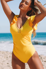 Solid Color Ruffle Design One Piece Swimwear