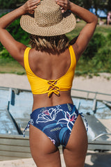 Yellow And Flower Twist Front Bikini Set