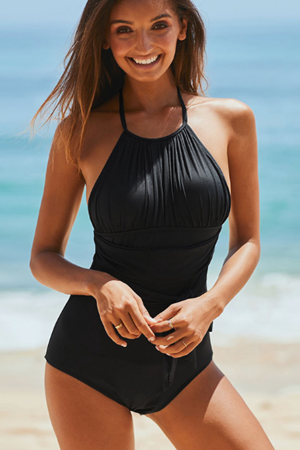 Tie Front Ruched Design Halter One Piece Swimsuits