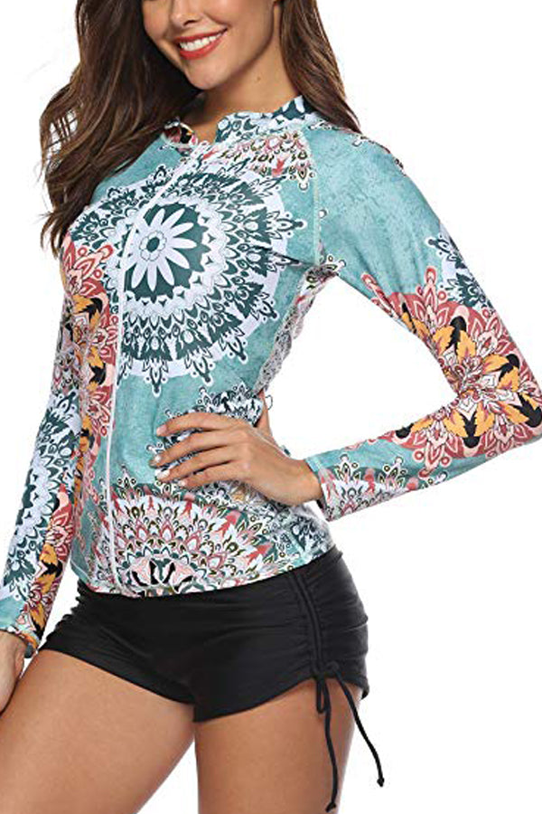 Long Sleeve UPF 50+ Rash Surfing Swimwear