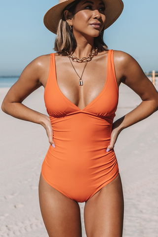 Ruched Desigan Solid Colr One Piece Swimwear