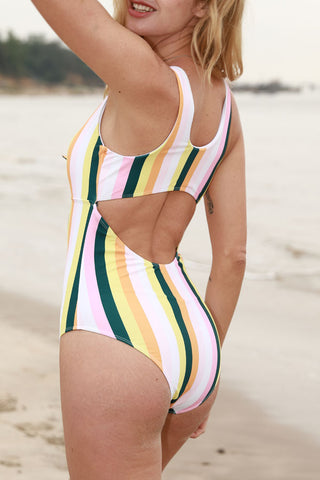 Tie Front Rainbow Print Cutout Back One Piece Swimsuit