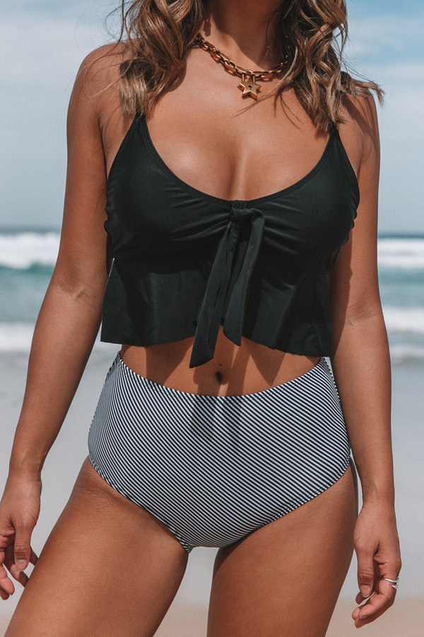 Stripe Print High Waist Flouncing Bikini Set