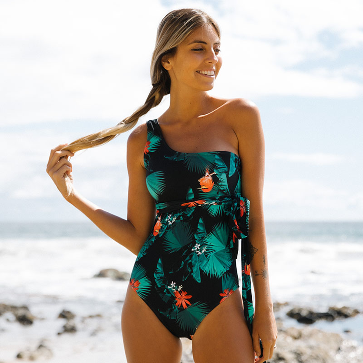 Leaf Print One Shoulder One Piece Swimsuits