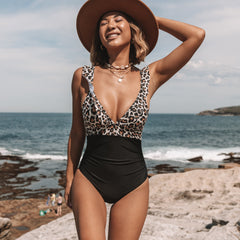 Ruffle V Neck Leopard Print One Piece Swimwear