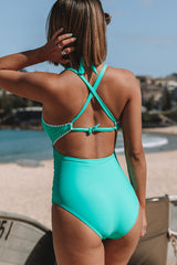 Contrast Binding Ruched Design One Piece Swimwear