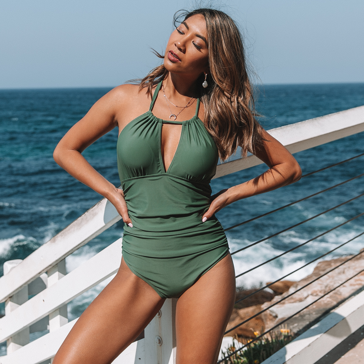 Ruched Design Halter Neck One Piece Swimsuits