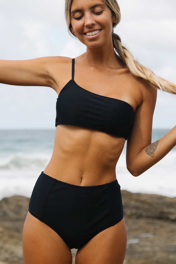 One Shoulder High Waist Black Bikini Set