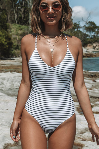 Stripe Print Back Cross One Piece Swimwear