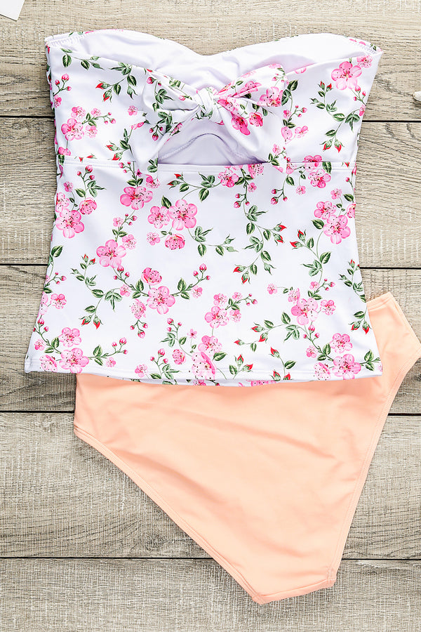Strapless Flower Print Tankini Set