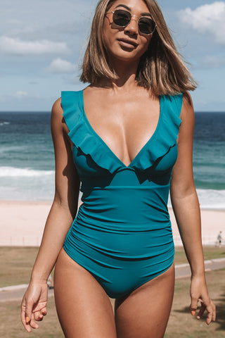 Ruffle V Neck Tie Back One Piece Swimsuit