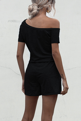 Skew Neck Drawstring Waist Black Rompers