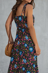 Asymmetric Hem Vintage Print High Waist Cami Dress
