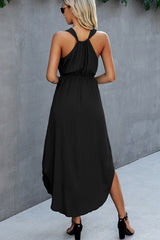 Solid Color V Neck Sleeveless Dress