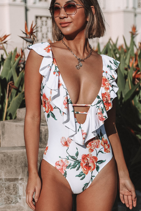 Flower Print Ruffle V Neck One Piece Swimwear