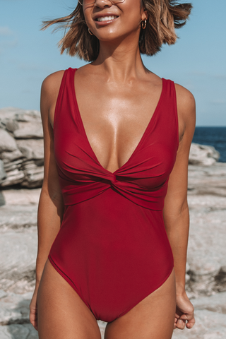 Twist Front Scoop Back Wine Red One Piece Swimsuits