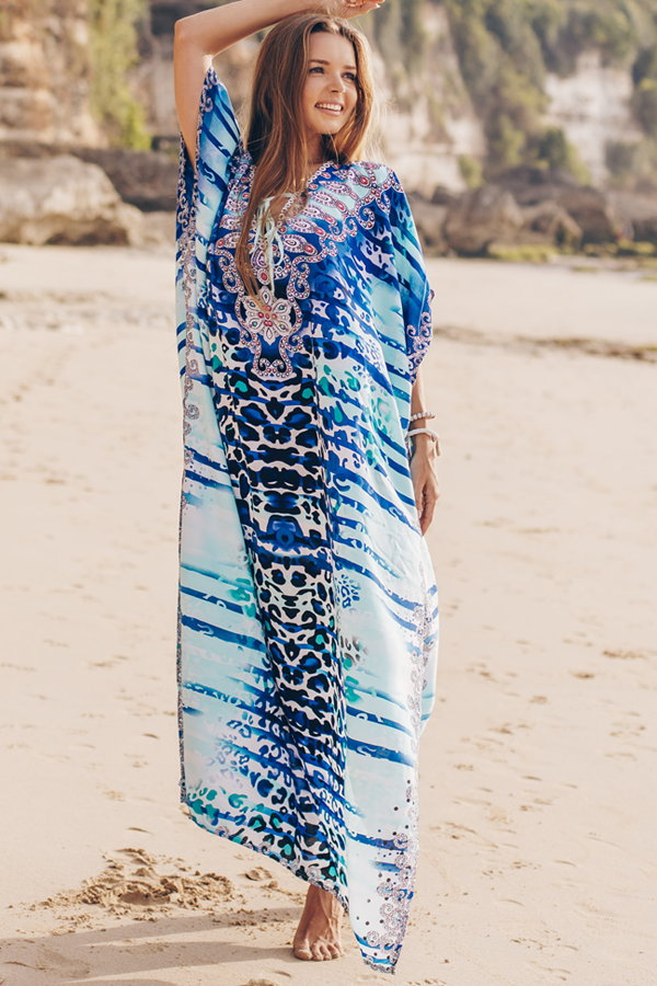 Printed Side Slit Front Tie Long Cover Up