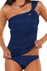 One Shoulder Ruched Navy Low Waisted Tankini Set