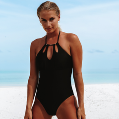 Cutout Front Halter Neck Solid One Piece Swimwear