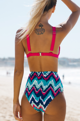 Chevron Print High Waist Bikini Set