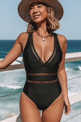 Solid Color Mesh Patchwork One Piece Swimwear