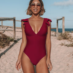 Ruffle Shoulder V Neck One Piece Swimwear