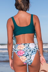 Drawstring Side High Waist Flower Print Bikini Set