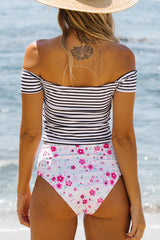 Cute Girl Off The Shoulder Stripe Floral Print Tankini Set