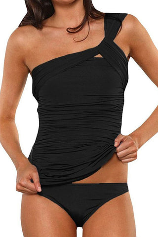 Black One Shoulder Tankini Set - beachsissi