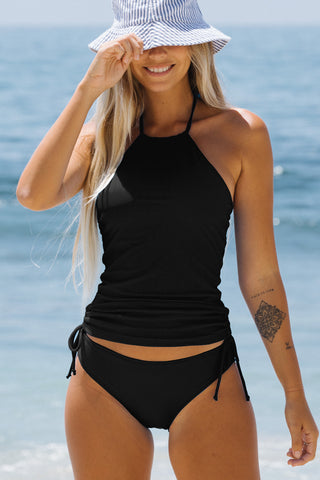 Black Halter Neck  Drawstring Side Tankini Set