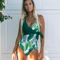 Leaf Print Side Tie One Piece Swimsuit