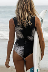 Leaf Print Sleeveless Surfing Swimwear