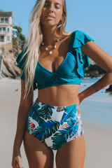 Ruffle Embellished High Waist Bikini Set