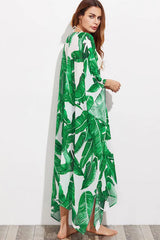 Long Sleeve Leaf Print Cover Up