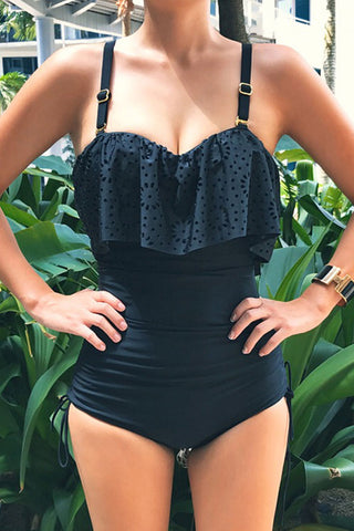 Ruffle Overlay Ruched Black One Piece Swimwear