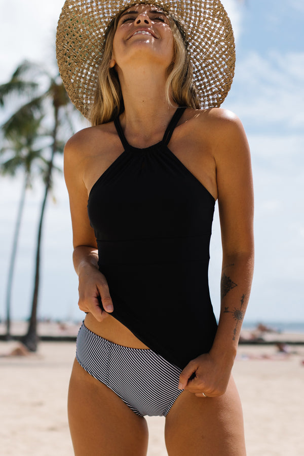 Tummy Control Stripe Print Back Cross Tankini Set