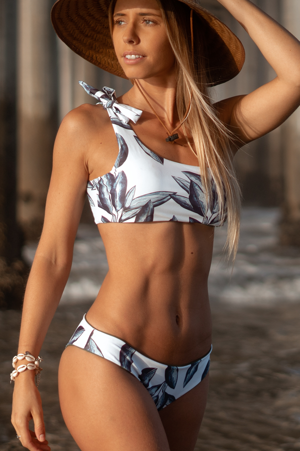 Tie Shoulder Leaf Print Reversible Bikini Set