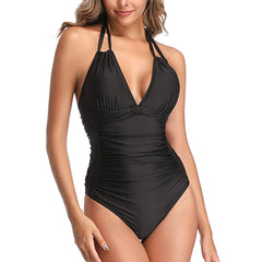 V Neck Halter Solid One Piece Swimwear