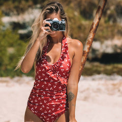 Halter Neck Frill One Piece Swimwear