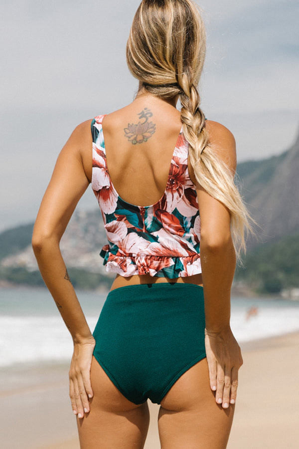 Flower Print Tank Top High Waist Bikini Set