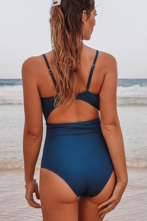 Solid Color Tie Front Sexy One Piece Swimwear