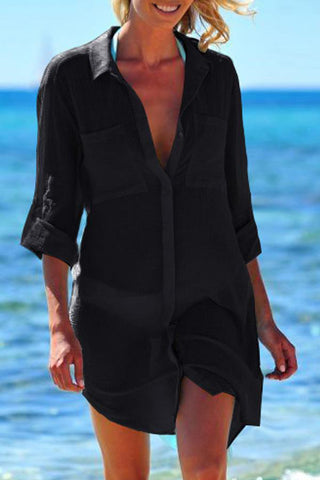 Solid Color Roll Up Sleeve Swimsuit Cover Up