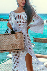 Flare Sleeve Knitted White Swimsuit Cover Up