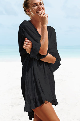 Solid Color Tie Back Swimsuit Cover Up