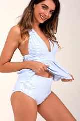 Tie Back Stripe Tankini Set